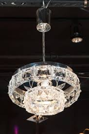 mid century modern two tiered crystal segmented chandelier with chrome fittings by kinkeldey for