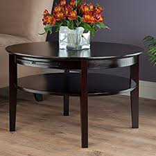 Benbrook Dark Espresso Round Coffee Table With Pull Out Tray