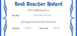 Best Teacher Award Template Best Teacher Award Certificates Student Of The Year Certificate