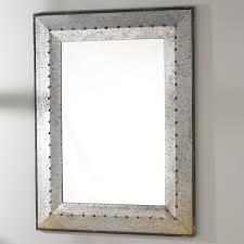 Metal Industrial Rivet Mirror Industrial - Trim around bathroom mirror