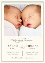 twin birth announcements photo cards twins birth announcement watercolor leaf design watercolor twin