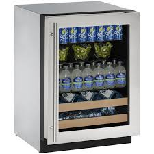 24 luxury built in beverage center stainless steel trimmed glass door