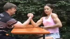 Tall asian woman armwrestling 00