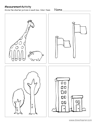 Free printable worksheets on measuring sizes, tall and short.