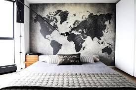 overwhelming wall ideas bedroom interesting college world map cool wall art for men decoration elegant stained varnished masculine grey bedroom design