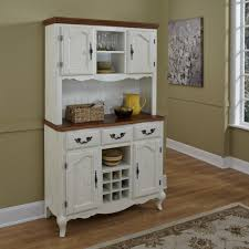 sage green wall color with awesome classic white credenza hutch using wooden countertop for elegant kitchen ideas