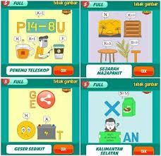 Jawaban tebak gambar lengkap semua level dari level 1 sampai dengan level 155 dari permainan kuis online dan kuis berhadiah. Kunci Jawaban Tebak Gambar Level 108 Guru Galeri