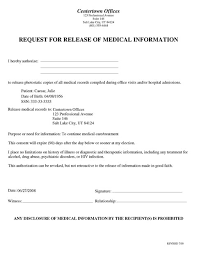 Medical Records Template Release Of Records Form Template Rome Fontanacountryinn Com