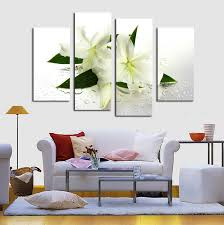 free 4 panels white flowers painting canvas wall art picture home decoration