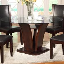 Glass top dining sets Vanalen Round Dining Table Dunk Bright Furniture Crown Mark Camelia Espresso Round Glass Top Dining Table With