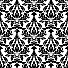 Poster Foto Black Colored Floral Arabesque Seamless Pattern Koop