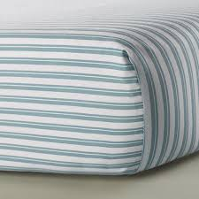 aqua stripe crib sheet
