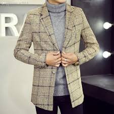 2018 fall men s winter coat wool plaid suit coat long coat woolen coat in male male from tt2016 73 57 dhgate com