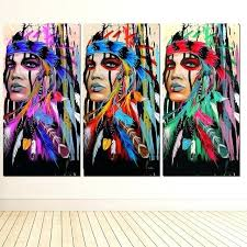native wall art modern girl feathered canvas painting for living room prints home decor american australia