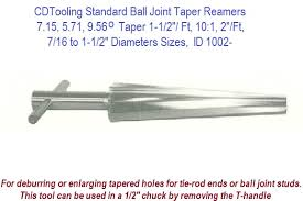 Tie Rod End Taper Chart 7 15 5 71 9 56 Degree Taper 1 1 2 Ft 10 1 2 Ft 7 16 To 1 1 2 Taper Sizes Standard Ball Joint Taper Reamers Id 1002