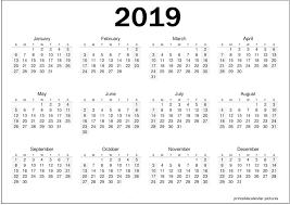Calendar Year 2019 Printable Printable Yearly Calendar 2019 Printable Calendar 2019 Calendar