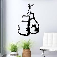 modern style boxing glove wall decals whole removable vinyl wall art stickers for home or office boy bedroom decor reusable wall decals reusable wall