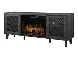 dean electric fireplace tv stand w logs in wrought iron gds26l8 1909wi