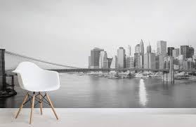 black white new york landscape city room wall