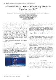 pdf determination of sd of sound using empirical equations and svp