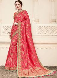 Traditional Designer Sarees Online Patch Border Hot Pink Traditional Designer Saree
