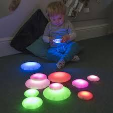 Autistic Light Toys Illuminated Sensory Glow Pebbles 12pcs Sensory Room Lighting