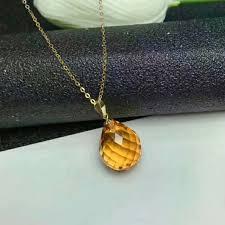 <b>shilovem 18k yellow gold</b> citrine pendants fine Jewelry women party ...