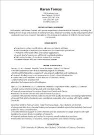 1 Chemist Resume Templates Try Them Now Myperfectresume