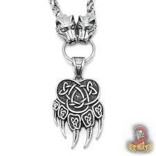 details about bavipower bear paw pendant with celtic knot pattern and wolf head chain necklace