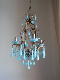 glass crystal chandelier drop authentic vintage brass gilded aqua blue birdcage crystals celeste