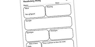 Word Study Worksheet Vocabulary Word Study Worksheet