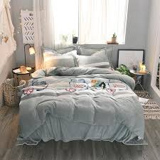 brief grey stripes flannel duvet cover set queen king size fleece bed sheet pillow cases soft winter flannel bedding sets queen bedding ensembles bedding