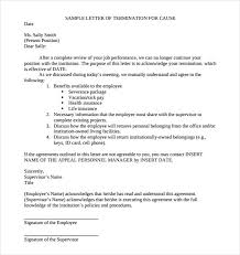 job termination letters download sample termination letter without cause