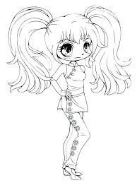 Anime Drawing Coloring Pages For Girls Cute Girl Books Black