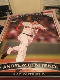 Size Of A Baseball Card Andrew Benentendi Topps Life Size Baseball Card Hung Above
