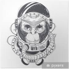 Plakát Vektorové Ručně Kreslené Ilustrace Astronaut Opice šimpanz Ve Vesmíru Ve Stylu Rytiny Tisk Pro Trička šablonu Náčrtek Tetování Designový