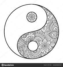 Yin Yang Hand Gezeichnete Symbol Kreismuster Zeichen Zusammenspiel