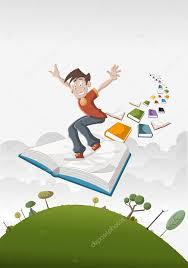 cartoon boy flying on big book over green park vector by deniscristo