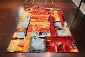 new red blue modern contemporary fl orange yellow wool burnt orange area rug 8x10