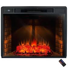 black electric fireplace freestanding electric fireplace insert heater in black with tempered glass and remote control