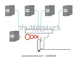computer network diagram five pcs switch stock vector 44228782 computer network sectional diagram five pcs switch and wireless cable modem router setup