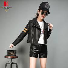 2019 black leather biker jacket mustard leather fashion leather jackets for las spring cream jacket womens short black best fur from dengpeng520