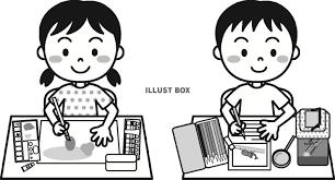 無料イラスト 夏の子供自由研究モノクロ