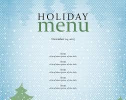 Holiday Menu Template Holiday Dinner Menu Template