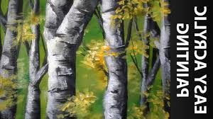 painting of birch trees how to paint a forest of birch trees with acrylics for beginners