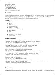 Resume Of Computer Engineer Professional Computer Hardware Engineer Templates To