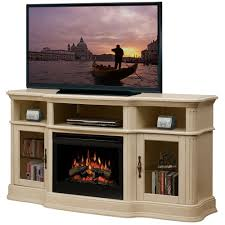 image of natural electric fireplace tv stand