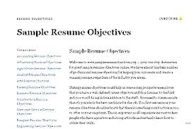 Sample objective for resume any job example objectives gorgeous photos
