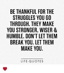 Quotes About Life Struggles Fascinating BE THANKFUL FOR THE STRUGGLES YOU GO THROUGH THEY MAKE YOU STRONGER