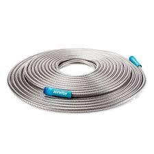 sun joe indestructible 1 2 in dia x 100 ft heavy duty stainless steel garden hose